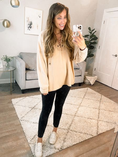 Lounge style // comfy clothes // aerie style // aerie hoodie // aerie offline // aerie lace up hoodie // aerie loungewear // aerie sale // affordable style // travel outfit idea     #LTKsalealert #LTKstyletip #LTKunder50
