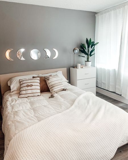 Moon phases mirror decor - right above my bed. Just to remind myself, even the moon goes through its phases. ✨ http://liketk.it/3bldX #liketkit @liketoknow.it  #bedroomdecor #homedecor #decor #interior design
