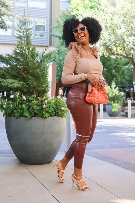 When it's a mixture of fall and summer . Faux leather pants are still in this fall. Here's an affordable option 🤎  #LTKfit #LTKunder100 #LTKstyletip
