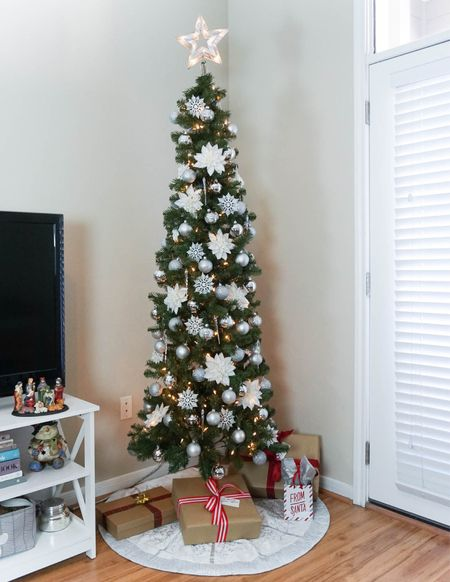 Christmas home decor / skinny Christmas tree / holiday decor for apartment / silver ornaments target home finds   #LTKunder50 #LTKHoliday #LTKunder100