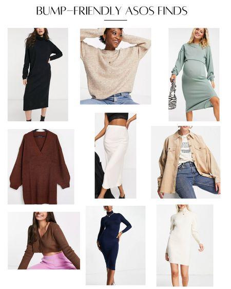 Fall sweaters bump friendly maternity dresses midi skirt silk skirt shacket neutral fall outfits sweater dress cardigan   #LTKstyletip #LTKbump #LTKSeasonal