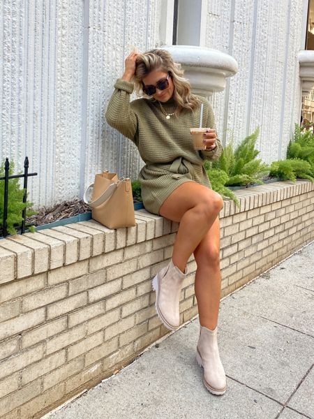 today's outfit 🍃 olive green sweater dress is sooo cute- I sized up for loose fit. Linking my boots too!   #LTKstyletip #LTKunder50