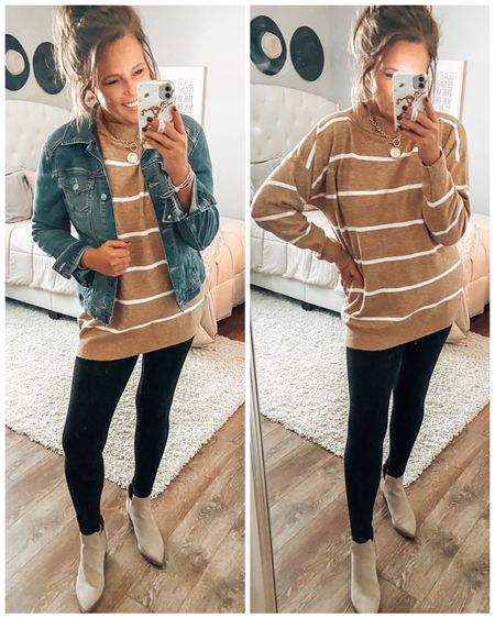Camel striped sweater from Target only $25! Ponte leggings from Amazon styled with Sylvie booties from Target.   Target style, target outfits, legging outfits, denim jacket outfits, casual outfit, weekend outfit, casual get together outfit, booties, taupe booties, sale, over 40 style  #LTKunder50 #LTKstyletip #LTKsalealert
