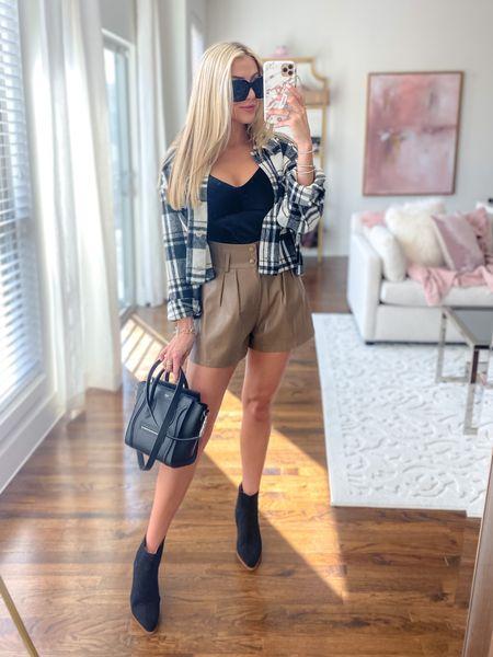 GoodnightMacaroon fall look Leather shorts  Shacket  Black velvet tank  Black suede booties     *GNM 40% off: JANELLE40   #LTKunder100 #LTKunder50 #LTKstyletip
