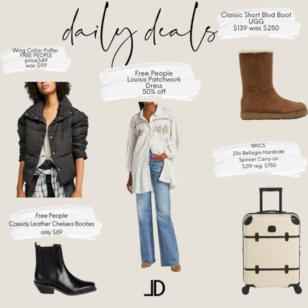 Today's Deals  Free People puffer only $49 It is $99 on Free People site Free People Leather Boots $69 Ugg boots 1/2 off Free People tunic 1/2 off BRICS luggage is $750 at SAKS found it for $218 at Marshall's      Follow me and style with me! I am so glad and grateful you are here!🥰 @lindseydenverlife 🤍🤍🤍      _________ #freepeople #uggboots #boho #bohotop #luggage  Business Casual Old Navy Deals Walmart Finds Target Looks #GapHome Shein Haul Nordstrom Sale  Wedding Guest Dresses Plus Size Fashions Back to School Maternity Style Teacher Outfits #Leeannbenjamin #stylinbyaylin #cellajaneblog #lornaluxe #lucyswhims #amazonfinds #walmartfinds #interiorsesignerella #lolariostyle    #LTKitbag #LTKworkwear #LTKsalealert