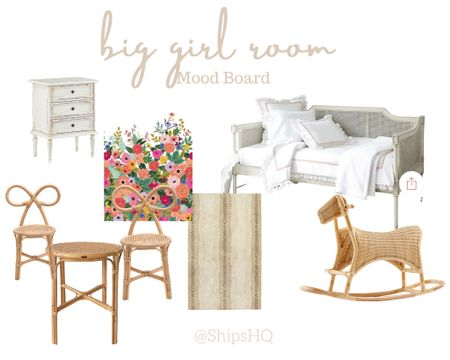 Current mood board for Mattie's big girl room! Can't wait to transform our guest room into an amazing space for my LO's. 🤍 #girlmom #biggirlroom #riflepaperco #ballarddesigns  #LTKbaby #LTKkids #LTKhome