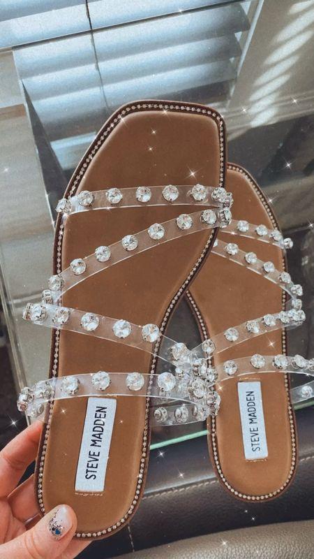 Spring sandals. Summer sandals. Rhinestones. Translucent. Strappy sandals.   #LTKshoecrush