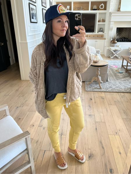 Sunday loungewear.  Yellow sweats Free people quilted jacket & dupe links too. Studded slides  Vintage hat Amazon finds  Cindy clothes   #LTKunder100 #LTKSeasonal
