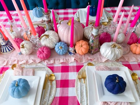 Pink blue orange and white fall table Gingham tablecloth  Pink gingham Candlestick  Tapered candle  Painted pumpkins Spray paint Colorful pumpkins Pastel pumpkins Blue pumpkins Pink pumpkins Gold flatware Tablescape  Dining table Dining room Thanksgiving table Thanksgiving decor Home decor Pumpkin decor   #LTKHoliday #LTKhome #LTKSeasonal