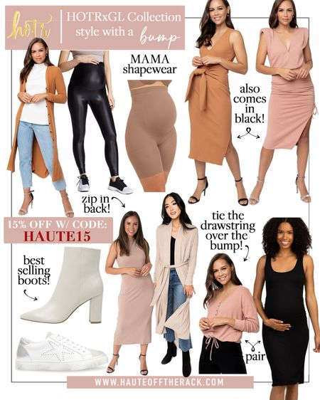 How to style HOTRXGL collection with a baby bump! #maternity #bumpfriendly #weddingguestdress #maternityleggings #maternitydress #cardigan #cardigandress #mamaspanx #starsneakers #whitebooties #fallfashion #falloutfit   #LTKunder100 #LTKsalealert #LTKbump