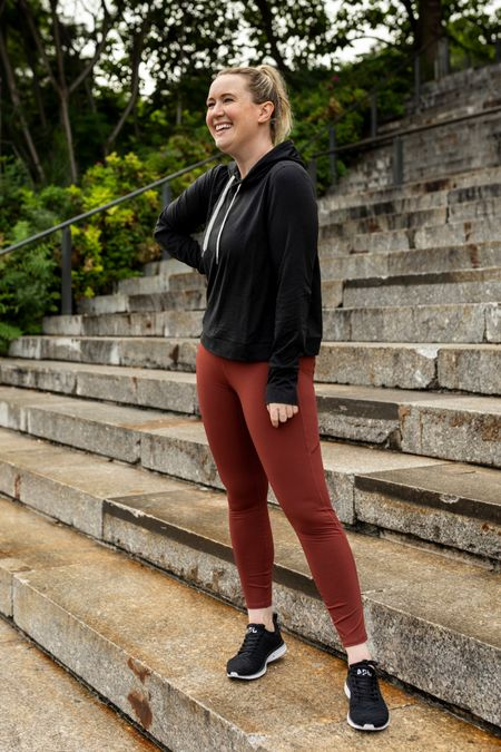 Comfy and cute workout clothes from Vuori  Hoodie (M) Leggings with pocket (M)  Apl sneakers   #LTKfit
