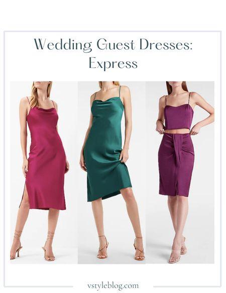 Wedding guest dresses, Fall outfits, Midi dresses, Slip dresses, Crop top skirt set, LTK Day Sale  Express  Satin Cowl Neck Midi Slip Dress in Floral Orchid ($88) Satin Cowl Neck Midi Slip Dress in June Bug ($88) Satin Cropped Cami ($44) High Waisted Draped Midi Skirt ($80)  #LTKunder50 #LTKSale #LTKwedding