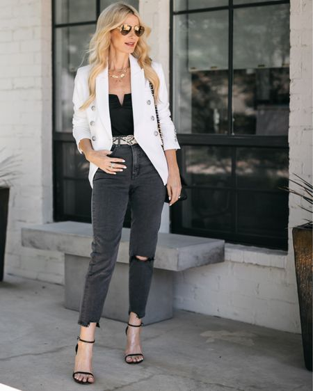 Entire look ON SALE thanks to the LTKSALE! 🖤 These $60 jeans are so slimming and this white blazer looks way more expensive than it really is!! They both run tts, I'm wearing a 0 in the jeans and an XS in the blazer. @liketoknow.it #liketkit http://liketk.it/3hr88 #LTKunder100 #LTKsalealert #LTKstyletip Shop my daily looks by following me on the LIKEtoKNOW.it shopping app