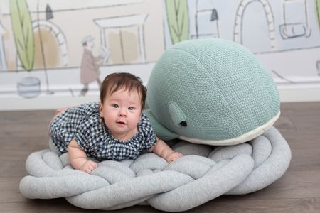 My baby girl turns 100 days old today! What a joy it's been to be her mom. She is so delightful. I couldn't resist getting her this giant whale stuffed animal. The mint color goes with the nursery wallpaper. I've linked to several large stuffed whales as well as the Parisian themed nursery wallpaper (it's a peel and stick). April's gingham dress is under $20 and I've included both the Canadian and USA links.   #LTKhome #LTKbaby #LTKsalealert