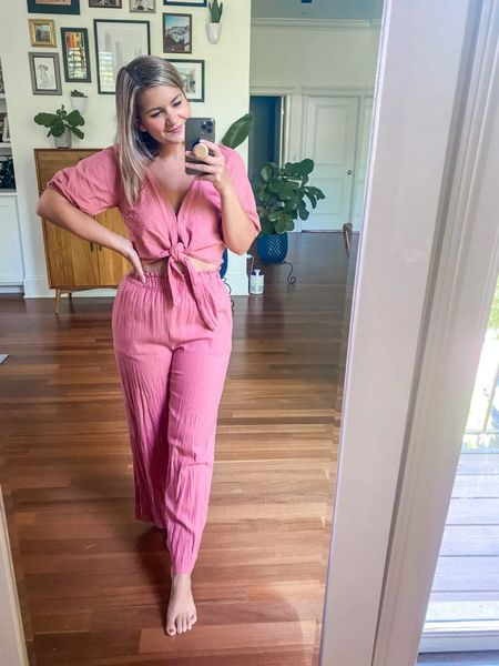 The best linen set from Abercrombie! Wearing in xs in the top and a small regular in the bottoms! #LTKday  #LTKunder100 #LTKsalealert