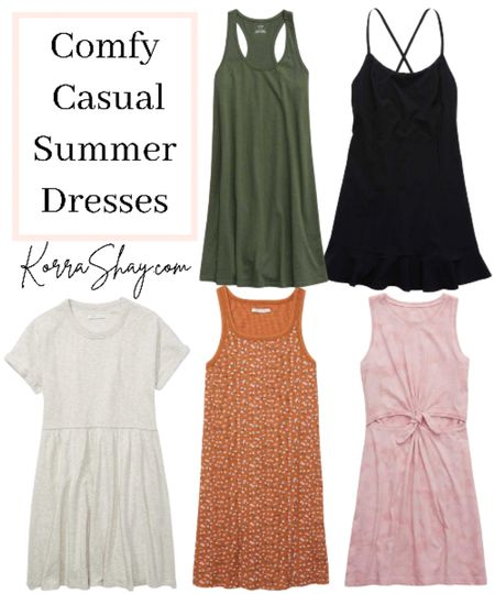 Comfy casual summer dresses!   Affordable and super comfy outfits for all of your summer activities.   Green knit casual dress, athletic tennis black ruffle dress, white babydoll dress, orange knit body con dress, pink tie front cut out dress  #LTKunder100 #LTKSeasonal #LTKstyletip