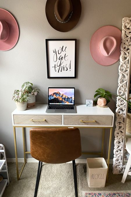 Home office decor, office  desk, & office chair. I work from home and just freshened up my space. Here's some home office inspiration so you can too!✨ Love the boho chic home style.  @liketoknow.it http://liketk.it/3iSKy #liketkit #LTKhome #LTKsalealert