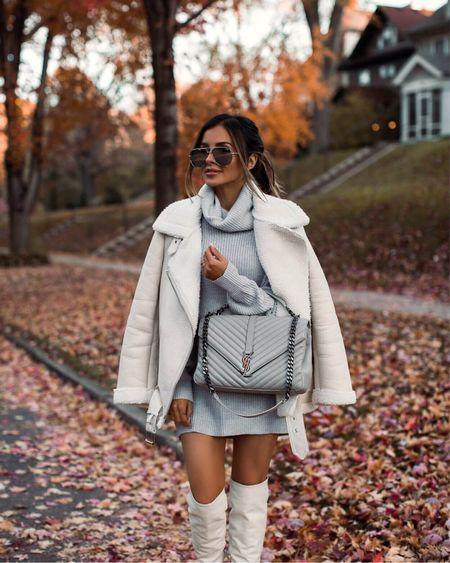 Fall outfit ideas  Similar white shearling biker jacket Gray sweater dress White knee high boots  #LTKshoecrush #LTKstyletip #LTKunder100