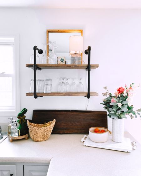 Linking our INCREDIBLE rustic modern farmhouse kitchen shelves that we scored under $100 here! http://liketk.it/2NdI2 #liketkit @liketoknow.it #StayHomeWithLTK #LTKhome #LTKunder100
