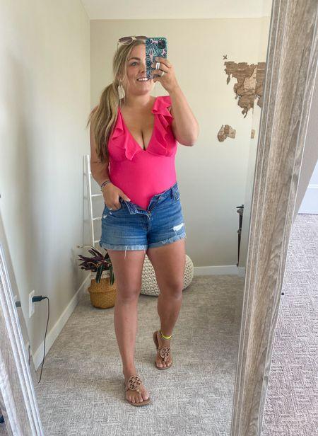 Wood map wall decor Hot pink one piece ruffle women's swimsuit wearing medium Abercrombie denim shorts mom shorts  Tory Burch Miller sandals Anchor bracelet  Pura vida anklet Seattle blogger  #LTKswim #LTKunder50 #LTKstyletip