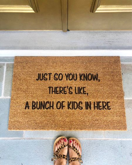 If that ain't the truth 😂😂 sometimes it feels like there are 400 kids in this house but I absolutely love it. If you can relate, you need this doormat... 💗 http://liketk.it/2DcNc #liketkit @liketoknow.it