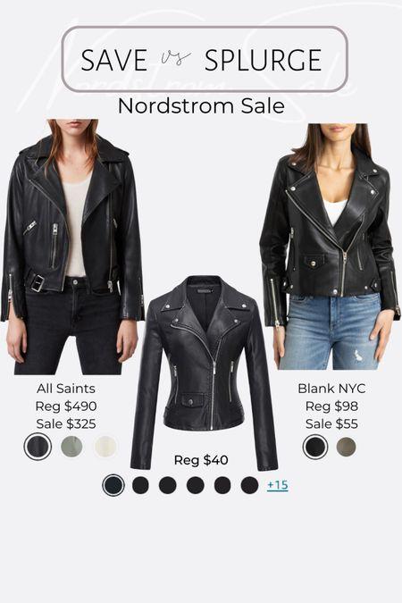 Nordstrom NSale favorite picks and dupes leather and faux leather motto jackets #liketkit @liketoknow.it #LTKunder50 #LTKsalealert #LTKunder100 http://liketk.it/3jRJO