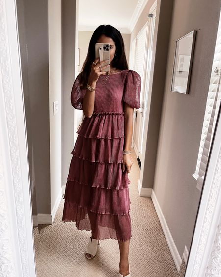 Wearing a size XS and just shy of 5'7 for reference, dotted tiered dress, wedding guest dress, fall wedding, StylinByAylin   #LTKSeasonal #LTKwedding #LTKstyletip
