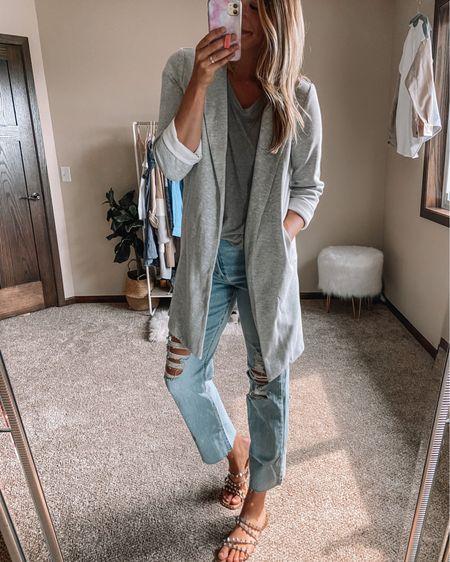 Forever 21 Gray long line blazer / gray v neck tee / target long jeans / Steve Madden studded sandals   #LTKunder50 #LTKsalealert #LTKstyletip