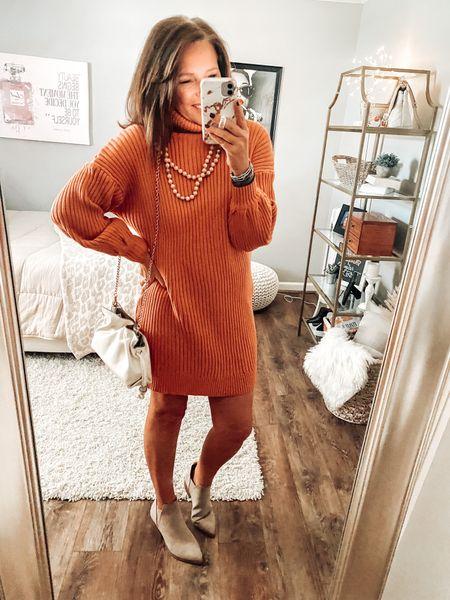 Sweater dress, fits tts, wearing a medium. Amazon Fashion, Amazon dresses, date night, Amazon finds, #ltkfall #founditonamazon  #LTKstyletip #LTKunder50 #LTKsalealert
