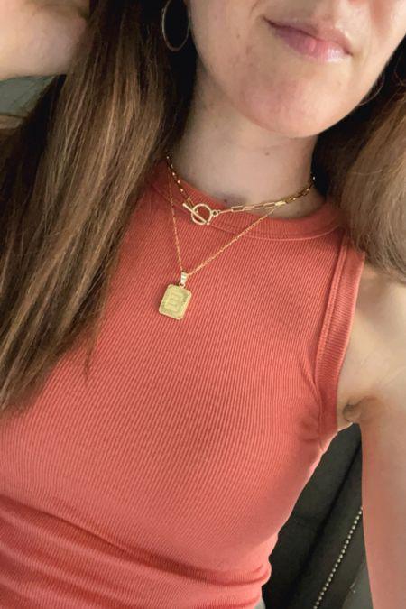 Necklaces High neck tank Ribbed tank Layering necklaces Initial necklace Toggle necklace  #LTKstyletip #LTKunder50 #LTKSeasonal