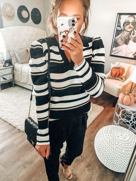 Walmart finds!! Loving this Johnny collar lightweight striped sweater styled with paper bag cropped pants. Fall Outfit, workwear outfits, now and later outfits, Walmart fashion #walmartfashion #walmart #amazonfashion #founditonamazon  #LTKsalealert #LTKstyletip #LTKunder50