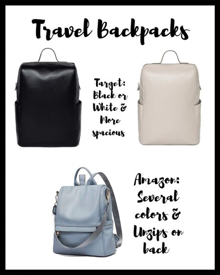 Two great options for chic travel backpacks from Target and Amazon!   #LTKitbag #LTKunder50 #LTKbacktoschool