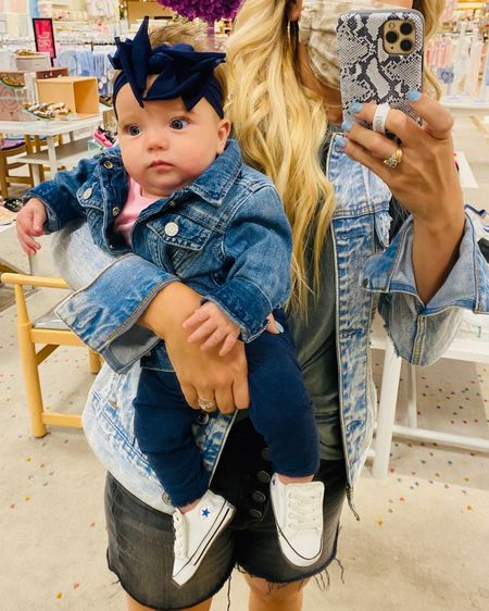 Oh my goodness! Is there anything cuter than a baby in a jean jacket?! I grabbed this one for a Monroe today for 40% off making it only $24. The jacket runs true to size but I sized up to make it easy to get on her and more comfortable.  All the baby & kids clothes at gap are currently 40%. Plus, anything already on sale is an additional 50% off  #jeanjacket #denim #babyclothes #salealert #LTKbaby #LTKkids #LTKsalealert @liketoknow.it #liketkit http://liketk.it/2WE4y