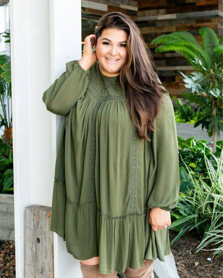 Who else loves dresses with OTK boots?! This dress is under $40 and comes in the most gorgeous olive green color too. Head over to IG stories to see how I style it for warmer weather too! @walmartfashion @walmart #walmartfashion #walmart #ad #sweaterweather #fallfashion #otkboots #plussizefashion #plussizestyle #plussize #affordablefashion #curvyfashion   #LTKunder50 #LTKstyletip #LTKcurves