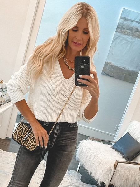 Loving this ivory v-neck sweater that's part of the #nsale and fully stocked! It's a great basic that can be worn alone or underneath a jacket come winter time. It's under $100 and runs tts, I'm wearing an XS.   #LTKstyletip #LTKunder100 #LTKsalealert