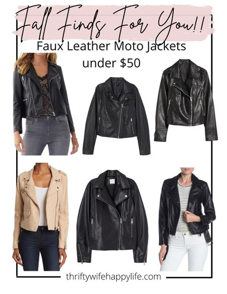Faux leather moto jackets under $50!   #LTKSeasonal #LTKsalealert #LTKunder50
