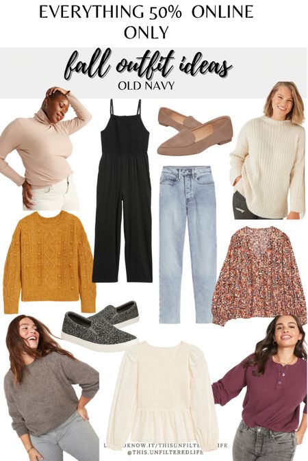 Old navy fall sale. Everything is 50% off when you shop online- YES EVERYTHING! These are a few of my favorites. #shacket #flannel #straightjeans #midsize    #LTKsalealert #LTKSeasonal #LTKcurves