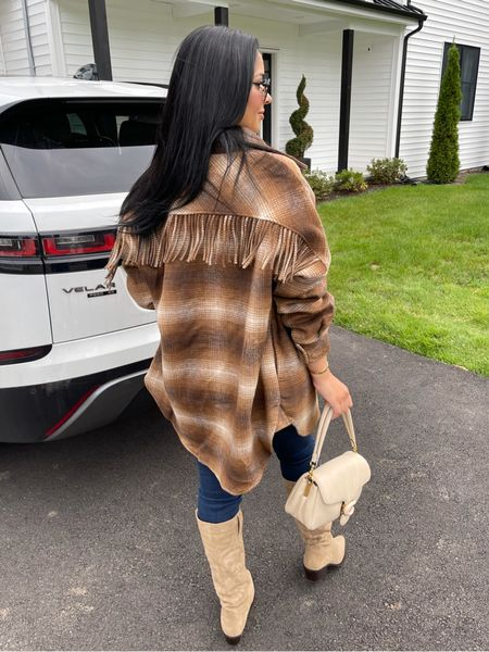 Wearing size medium shacket! Obsessed with this look for fall.   #LTKSeasonal #LTKSale #LTKunder100