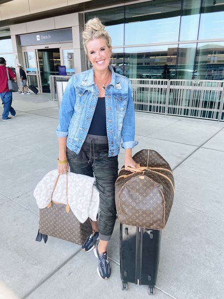 Airport style✈️ ✈️ The 3 C's CASUAL, CHIC and COMFY … These Camo joggers and @SPANX bodysuit  are my NEW Favorite Things🖤✔️✈️ #NYFW  .   #LTKshoecrush #LTKstyletip #LTKtravel