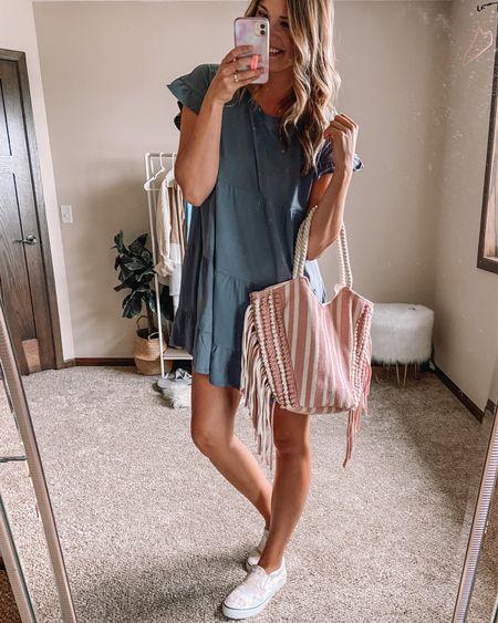 $14 gray babydoll short sleeve dress / $11 pink and white striped canvas tote bag / $15 tie dye sneakers Large dress 11 sneakers   #LTKstyletip #LTKunder50 #LTKsalealert