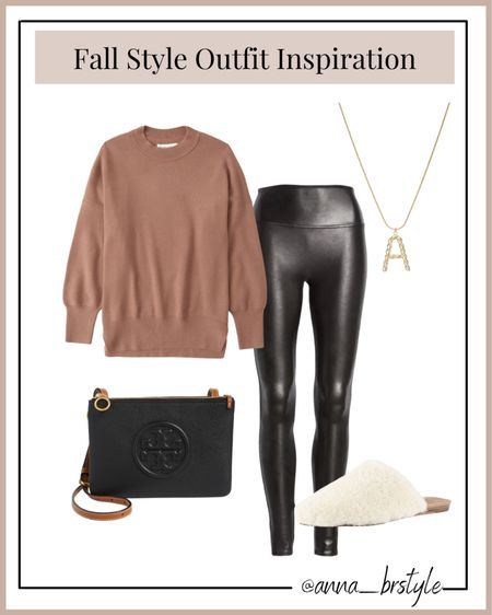 fall outfits, Abercrombie sweater on sale, spanx faux leather leggings #anna_brstyle  #LTKSale