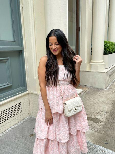 Jacquard pink tiered dress dior sandals   #LTKunder50 #LTKunder100 #LTKstyletip