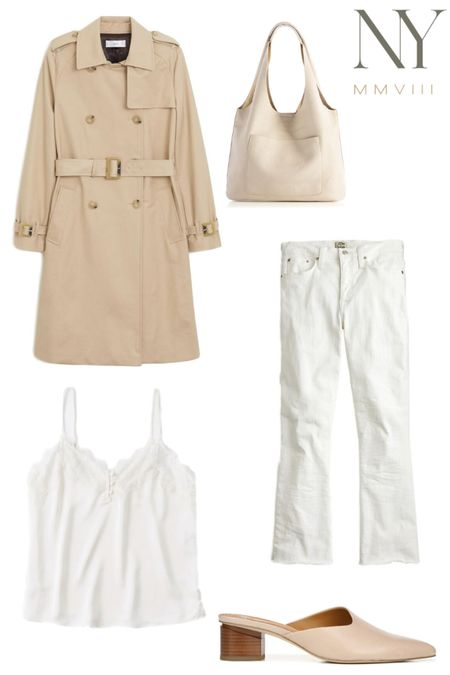 Spring Capsule Closet 2020 // Neutral spring outfit idea, timeless spring essentials, neutral spring look #liketkit  #LTKshoecrush #LTKspring #LTKstyletip  http://liketk.it/2KiVr @liketoknow.it Neutral Trench Coat, Belted Trench Coat, White Jeans for Spring, Cropped White Jeans, lace cami, white lace cami, neutral tote, white tote, cream tote