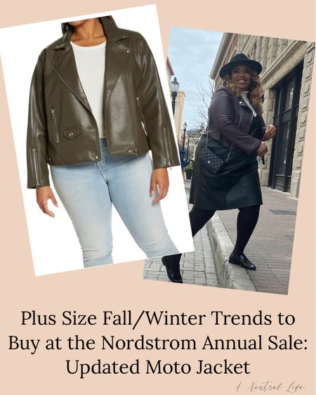 #NSale I'm sharing the plus size fall/winter trends you can buy TODAY at the Nordstrom sale.  I love a plus size Moto jacket, but finding them colors other than black can be hard. I love this olive-coloured jacket in the Nordstrom annual sale, it goes up to a 4X!!!   #LTKcurves #LTKsalealert #LTKunder100