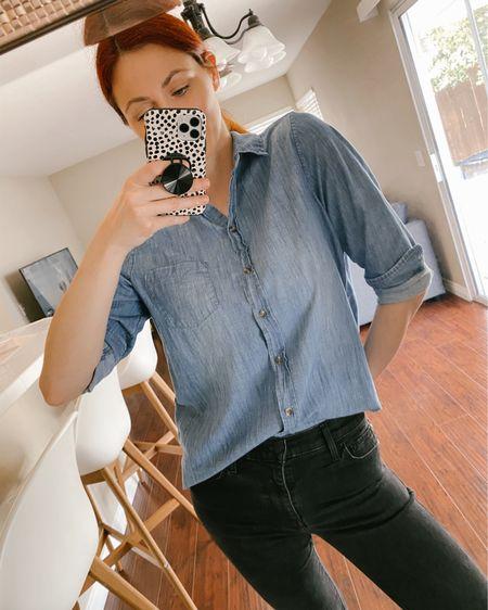 Black loafers, black Levi's 720 high rise skinny jeans, black H&M denim shacket.   http://liketk.it/3eQda #liketkit @liketoknow.it #LTKworkwear #LTKunder50 #LTKstyletip