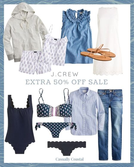 """J.Crew is having their """"end of the season"""" sale, even though there is plenty of summer left! All sale styles are currently an extra 50% off with code """"SALEONSALE"""". Tons of beautiful summer dresses, swimsuits, swimsuit cover-ups, shorts, sandals, blouses, pajamas, tank tops, sweatshirts and accessories - many of which I have featured in my previous """"Friday Favorites"""" posts. Many styles are final sale though, so just be aware of that!  @liketoknow.it #liketkit #LTKsalealert #LTKswim #LTKunder50 http://liketk.it/3jYF7  beach style, coastal accessories, summer accessories, preppy style, beach vacation outfits, summer fashion, resort style, resort wear, beach style, beach vacation accessories, summer pajamas for women, summer pajama sets, pajama short set,  sandals under $40, sandals under $50, woven sandals, woven flip flops, jcrew flip flops,  leather sandals flat, flat leather sandals, neutral sandals, brown sandals flat, flat sandals, jcrew sandals, tan sandals, summer sweatshirts, womens sweatshirt, gray sweatshirt, gray hoodie, grey hoodie, summer dress, dresses on sale, affordable dresses, short sleeve dress, midi dress, sleeveless dress, dresses under 50, cotton dresses, sale dresses, dresses on sale, eyelet dress, white dresses, scalloped bathing suit, swimsuit with scallops, navy bathing suits, navy swimsuits, navy swimsuit, navy bathing suit, one piece swimsuit, solid swimsuit, swimsuit for mom, lined swimsuit, jcrew swimsuit, solid swimsuit, navy two piece, navy two piece set, navy bikini, navy bikini top, navy bikini bottom, jcrew swimsuit, j.crew swimsuit, blue and white striped blouse, women's jeans, matchstick jeans, cropped jeans, jeans on sale, ruffled top, sleeveless blouse, gifts for her, casual style"""