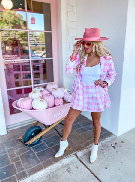 Pink plaid blazer size M  Matching pink skirt size M  White crop top size M White boots TTS  Pink hat  Fall style, workwear blazer, fall outfit, workwear look, concert inspo  Target gold hoops  Pink bracelet stack     #LTKsalealert #LTKunder50 #LTKshoecrush