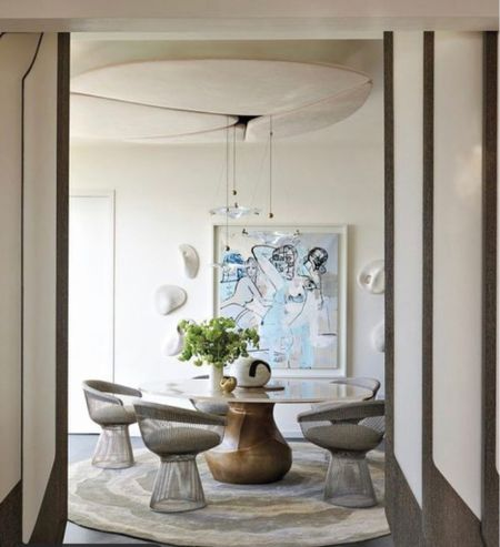 The iconic Mid-Century Modern platner dining chairs perfectly  complete the room.   #LTKsalealert #LTKhome #LTKHoliday