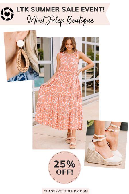 classy yet trendy, LTK DAY, #LTKDAY, The Mint Julep Boutique LTK Day Sale!, 25% Off, coral pink animal print dress, rattan earrings, wedge espadrilles  #LTKstyletip#LTKshoecrush#liketkit @liketoknow.it  #LTKunder100 #LTKsalealert #LTKDay