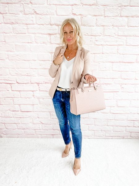 Street Look / Blazer Look / Work Blazer / Workwear / Work Wear / Office Look / Office Outfit / Business Casual / Office Casual / Work Outfit / Tory Burch / Kate Spade /  Coach Handbags / Handbag /petite / over 40 / over 50 / over 60 / Fall Outfit / Fall Fashion    #LTKSeasonal #LTKitbag #LTKworkwear